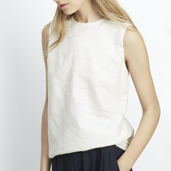 Vince Tops - Vince Burnout Jacquard Shell Silk Top Off White